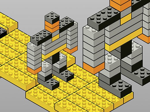 Robots made of plastic blocks : Stock Photo
