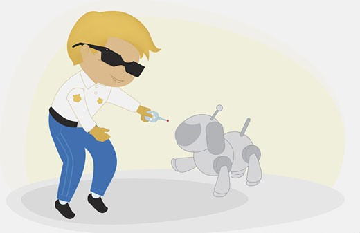 Stock Photo: 1758R-3217 Boy standing with a robot dog and holding a remote control