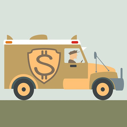 Dollar sign on an armored van : Stock Photo