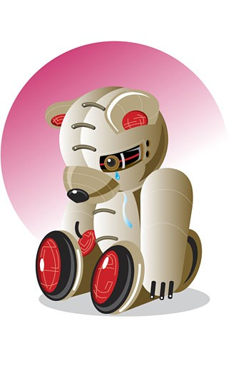 Stock Photo: 1758R-3805 Close-up of a robotic teddy bear crying