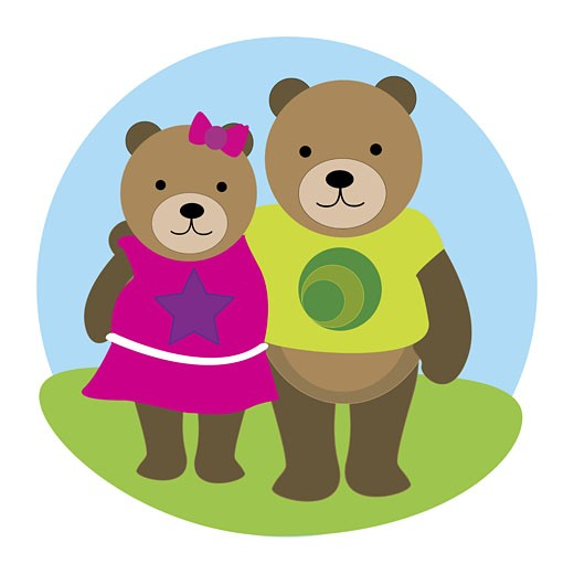 Male bear and a female bear standing together : Stock Photo