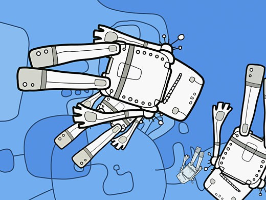 Close-up of four robots against a blue background : Stock Photo