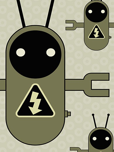 Three robots with electricity signs : Stock Photo
