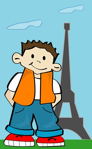 Stock Photo: 1758R-4586 Boy standing in front of the eiffel tower