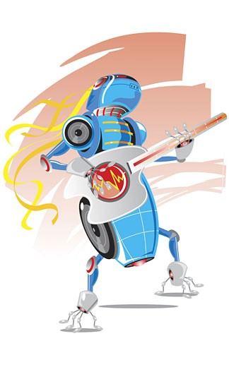 Robot playing a guitar : Stock Photo