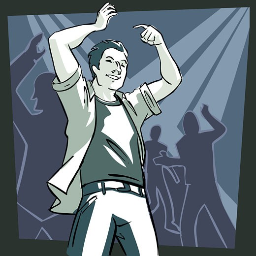Low angle view of a man dancing : Stock Photo