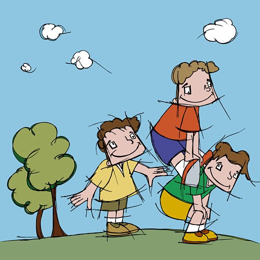 Side profile of three boys playing leap frog : Stock Photo