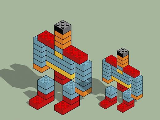 Robots made with plastic blocks : Stock Photo
