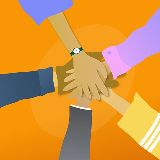 Stock Photo: 1758R-5502 High angle view of five people with their hands together