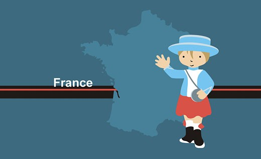 Stock Photo: 1758R-5753 Girl wearing traditional French clothing