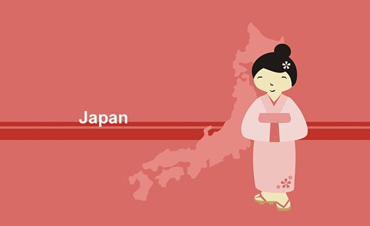 Stock Photo: 1758R-5755 Girl wearing a kimono near map of Japan