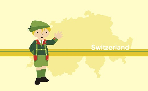 Stock Photo: 1758R-5761 Person wearing traditional Swiss clothing