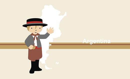 Stock Photo: 1758R-5768 Boy in traditional clothing near map of Argentina