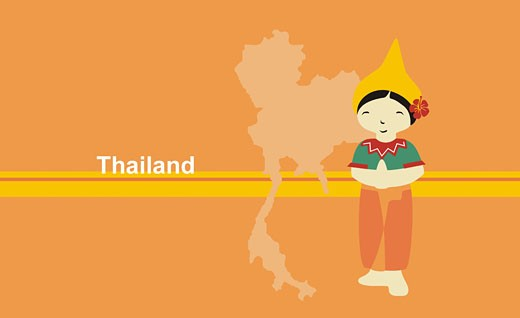 Girl in traditional clothing near map of Thailand : Stock Photo