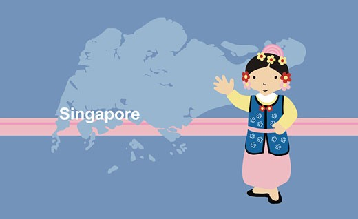 Girl in traditional clothing near map of Singapore : Stock Photo