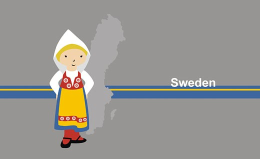 Stock Photo: 1758R-5780 Girl in traditional clothing near map of Sweden