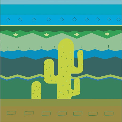 Cactus plan on a Traditional American Indian pattern : Stock Photo