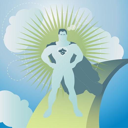 Superhero standing in the sky : Stock Photo