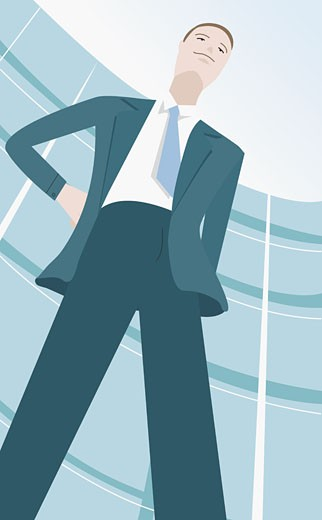 Stock Photo: 1758R-6804 Businessman standing with his hand on his hips