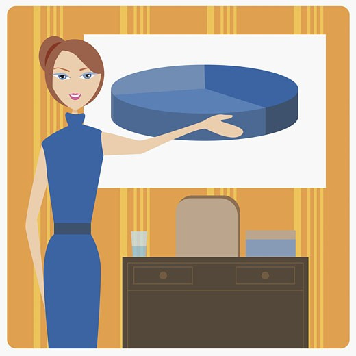 Stock Photo: 1758R-6987 Businesswoman pointing to a pie chart