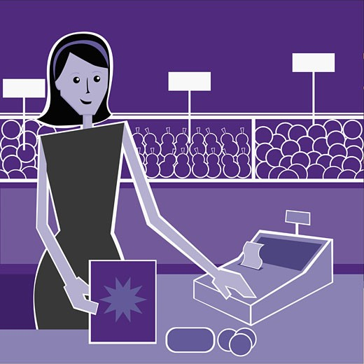 Portrait of a sales clerk using a cash register : Stock Photo
