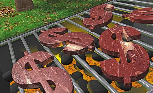High angle view of dollar signs on a barbecue grill : Stock Photo