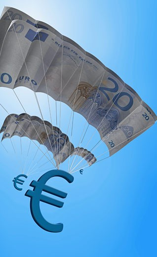 Euro signs falling with parachutes : Stock Photo