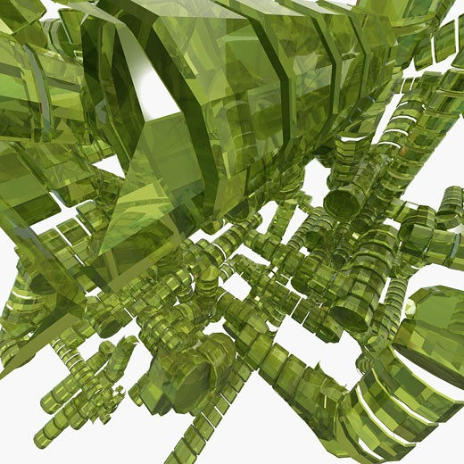 Stock Photo: 1758R-7319 Close-up of a 3-d green abstract patterns