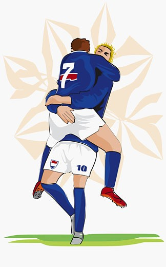 Two soccer players hugging each other : Stock Photo