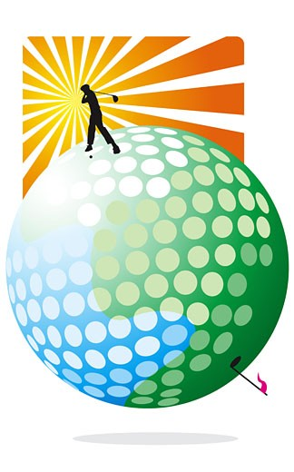 Stock Photo: 1758R-7987 Person standing on golf ball and swinging golf club