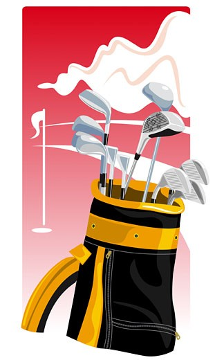 Stock Photo: 1758R-7990 Close-up of golf clubs in a golf bag
