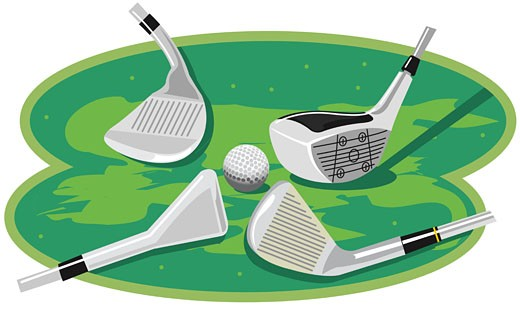 Four golf clubs near a golf ball : Stock Photo