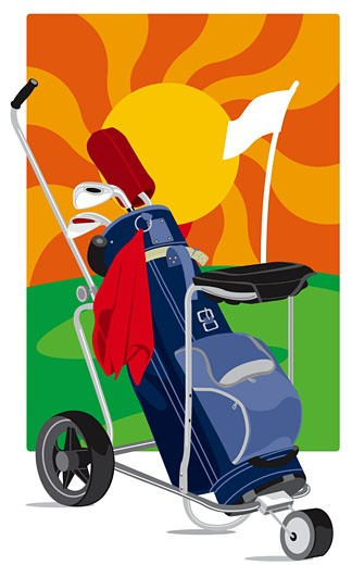 Golf cart with golf clubs : Stock Photo