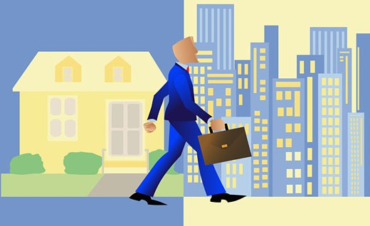 Businessman walking with a briefcase from a town into a city : Stock Photo
