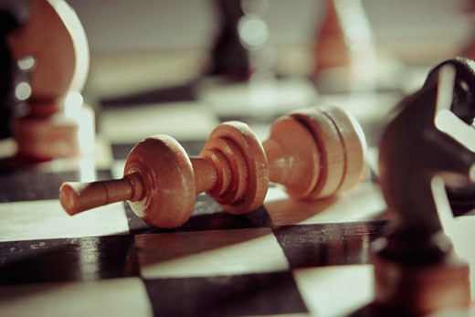 Close-up of chess pieces on a chessboard : Stock Photo