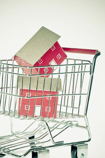 Close-up of two model houses in a shopping cart : Stock Photo