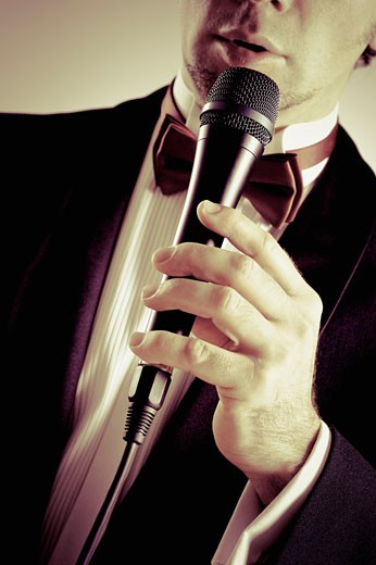 Stock Photo: 1758R-8509 Close-up of a man singing