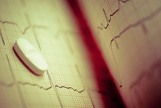 Close-up of a pill on an ecg report : Stock Photo