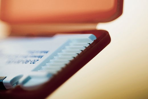 Stock Photo: 1758R-8768 Close-up of a memory card in a case