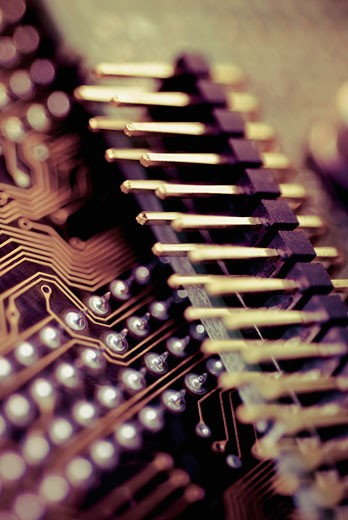 Close-up of a computer circuit board : Stock Photo