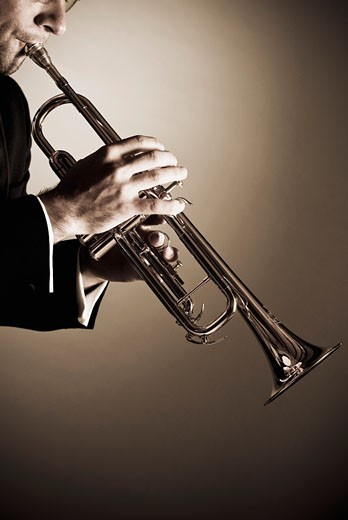 Man playing a trumpet : Stock Photo