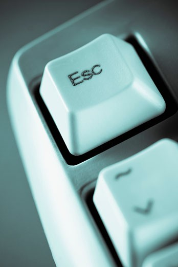 Stock Photo: 1758R-8872 Close-up of an escape computer key