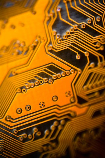 Stock Photo: 1758R-8877 Close-up of a computer circuit board