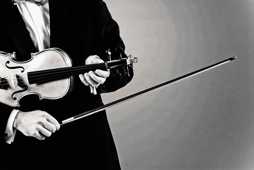 Man playing a violin : Stock Photo