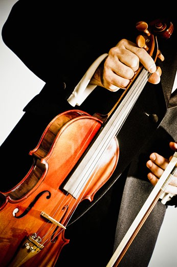 Mid section view of a man holding a violin : Stock Photo
