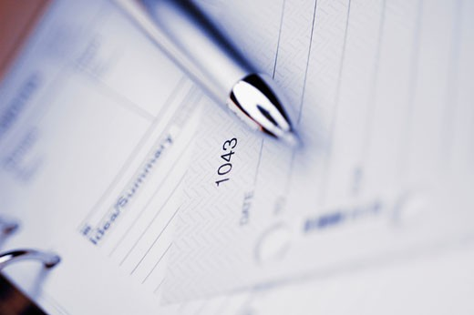 Stock Photo: 1758R-8996 Close-up of a pen on a personal organizer