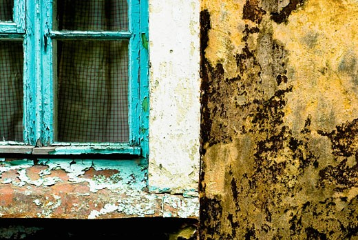 Stock Photo: 1758R-9041 Close-up of a weathered house