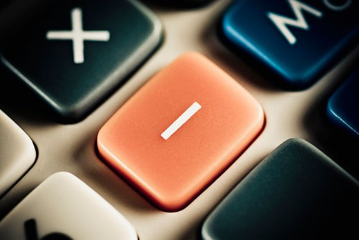 Stock Photo: 1758R-9095 Close-up of the Minus button of a calculator