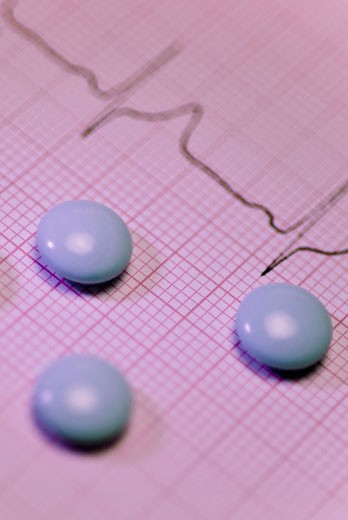 Stock Photo: 1758R-9216 Close-up of tablets on an ECG report