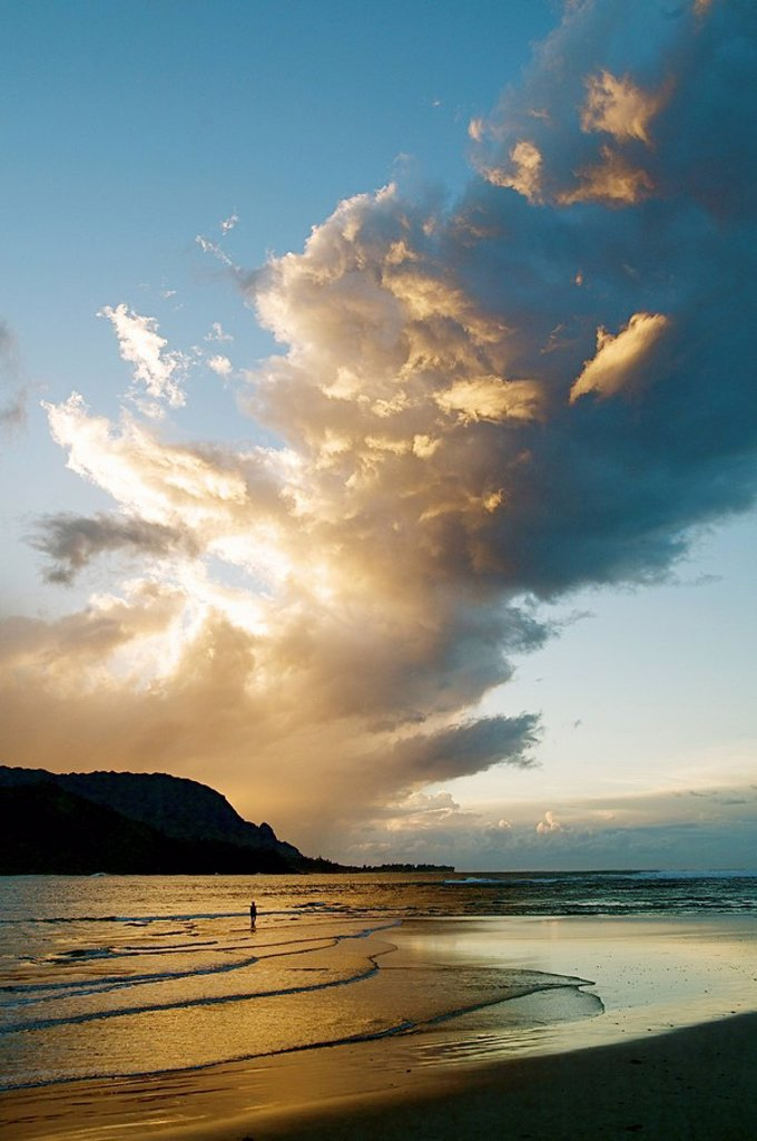 Stock Photo: 1760-10658 Hawaii, Kauai, Hanalei Bay, Sunset with beautiful reflections.